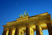Quadriga on the Brandenburg gate at night, Berlin, Germany