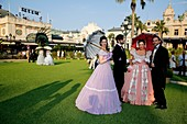 'Europe, Principality of Monaco, festival celebrating the 150th anniversary of the SBM (Societe des Bains de Mer), Princely picnic ''lunch on grass'' hold on the Casino Square and organized by chef Alain Ducasse from the 3 stars Louis XV restaurant.'
