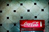 Refrigerator Coke in a bar in Fez, Morocco, Africa