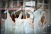 Wedding dresses hanging in various hangers
