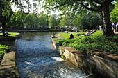 D-Paderborn, Pader, Lippe, Alme, Westphalian Lowland, East Westphalia, North Rhine-Westphalia, NRW, Pader source, Pader headwaters, leisure park, freetime, people.