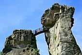 D-Horn-Bad Meinberg, Werre, Teutoburgian Forest, Eggegebirge, Teutoburg Forest / Egge Hills Nature Park, East Westphalia, North Rhine-Westphalia, NRW, Externsteine, rock formation, sandstone rocks, tourists, vacationers.