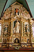 Retable in the Rosary,( 17th c.), Guimiliau parish church enclosure, Guimiliau, Finistere, 29, Brittany, France.