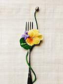 Edible flowers and fork