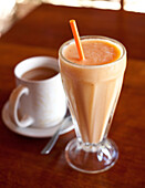 Fresh fruit juice and coffee