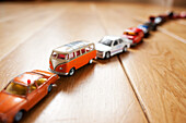 Queue of toy cars