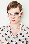 Girl wearing patterned blouse