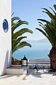 'Terrace overlooking Gulf Of Tunis; Sidi Bou Said; Tunisia'