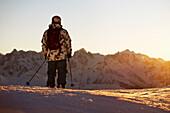 Man on skiing vacation