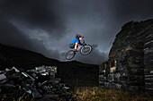 Freestyle cycling, Llanberis, North Wales, UK