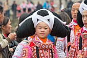 China ,Guizhou province , Suoga village , Suoga is is a small town 60 km from Liuzhi, in the area of Liupanshui, the westnorthern part of Guizhou , Long Horn Miao people in traditional dress , festival.