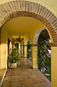 Hotel walkway with arches, San Jose del Cabo, Mexico.