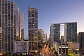 'Icon Brickell skyline, Miami, FL; Brickell Avenue right, Brickell Key left (architect = Arquitectonica).'