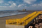 Beach access on the Gulf of Mexico seawall in Galveston, Texas, USA