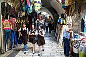Arab souk, covered market, at the muslim quarter in old city, Jerusalem, Israel.