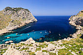 recreational enbarcaciones, Cala Figuera Beach, Formentor Peninsula, Pollensa. Natural Park of the Sierra de Tramuntana. Mallorca. Balearic Islands. Spain.