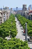 Passeig de Gràcia. View from above. Barcelona, Catalonia, Spain.