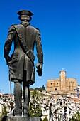 Gaspar de Portolà statue, front Santa Maria church. Balaguer, Noguera county, Lleida province, Catalunya.
