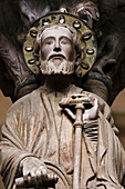 St James the Apostle on the mullion of the Pórtico de la Gloria, 12th century Romanesque portico of the catedral, Santiago de Compostela, Way of St James, A Coruña, Galicia, Spain