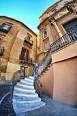 Vicolo Teatro facade in Agrigento, Sicily, Italy