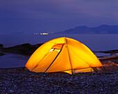 Tent And Perce Rock, Gaspesie Region, Pointe-Saint-Pierre, Quebec