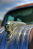 Close Up Of An Old Abandoned Pontiac Car Hood Ornament, Val Marie, Saskatchewan