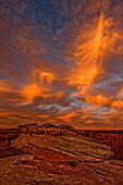 Vibrant Sunset Over The Rim Of Canyon De Chelley And Natural Rock Formation, Arizona.