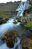 Dynjandi, A Large Waterfall In The Central Westfjords Of Iceland