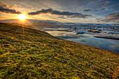 Sunset Over Tundra And The Glacial Lagoon, Near Jokulsarlon, Southern Iceland