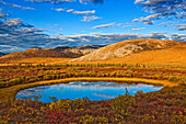 'The Setting Sun Illuminates The Vibrant Colours Of The Tundra And A Pond Along The Dempster Highway; Yukon Canada'