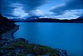 Long Exposure View Of Atlin Lake At Sunset, Atlin Provincial Park, British Columbia.