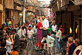 'A Couple Standing And Posing In A Cycle Rickshaw; Ludhiana, Punjab, India'