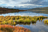 Morning Scenic Of Wonder Lake With Snow Covered Mt. Brooks, Mt. Mckinley And The Alaska Range In The Background, Denali National Park & Preserve, Interior Alaska, Autumn, Hdr