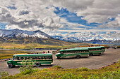 Scenic View Of Mt. Mckinley And Tourist Shuttle Buses Parked At Eielson Visitor Center In Denali National Park And Preserve, Interior Alaska, Summer, Hdr