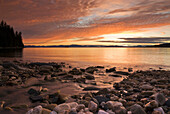 Scenic Sunset Over Hobart Bay In Southeast, Alaska During Summer