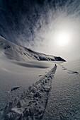 Alpine Skier Leaves Tracks In Snow During His Ascent, Wrangell-St. Elias National Park, Alaska