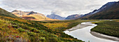 Panorama Of Rafters Camping Off Noatak River In The Brooks Range, Gates Of The Arctic National Park, Northwestern Alaska, Above The Arctic Circle, Arctic Alaska, Summer.