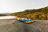 Rafts On Shore Of Noatak River In The Brooks Range, Gates Of The Arctic National Park, Northwestern Alaska, Above The Arctic Circle, Arctic Alaska, Summer.