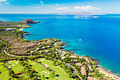'Aerial view of the Southern coast of Maui, with Kahoolawe in distance, Maui, Hawaii, United States of America'
