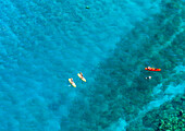 'Kayakers and stand up paddleboarders over tropical reef, Makena, Maui, Hawaii, United States of America'