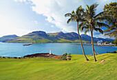 'View from the Kauai Lagoon Golf Club towards the Nawiliwili Harbor; Kauai, Hawaii, United States of America'