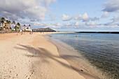 'Shadow of a palm tree on the beach along the coast; Honolulu, Oahu, Hawaii, United States of America'
