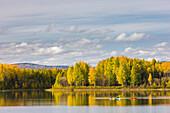 Kayakers Enjoying A Fall Day At The Chena Lakes Recreation Area, Fairbanks, Alaska, Usa