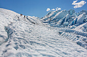 Hikers trek across the crevasse filled Matanuska Glacier, which flows out of the Chugach Mountains in Southcentral, Alaska.