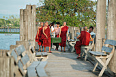 'Monks Crossing U Bein Bridge; Amarapura, Mandalay'