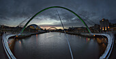 'Millenium Bridge Over The River Tyne; Newcastle Upon Tyne, Tyne And Wear, England'