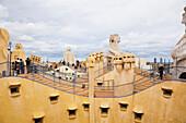 'Modernism Architectural Building, La Pedrera (Casa Mila) Designed By The Architect Antoni Gaudi; Barcelona, Spain'