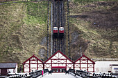 'Funicular going up and down the hill; Saltburn, North Yorkshire, England'