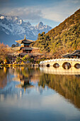 'Black Dragon Pool with Jade Dragon Snow Mountain in background; Lijiang, Yunnan Province, China'