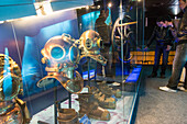 Diving equipment, cite de la mer, transatlantic maritime port, cherbourg-octeville, manche (50), france